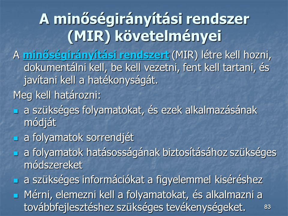 A minőségirányítási rendszer (MIR) követelményei