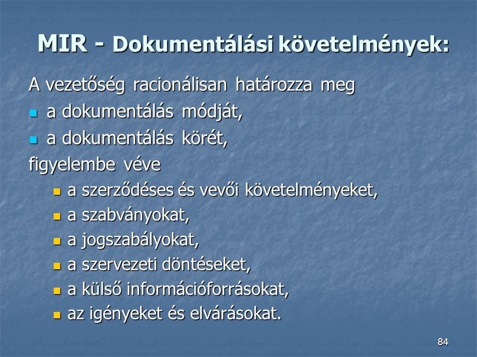 MIR - Dokumentálási követelmények: