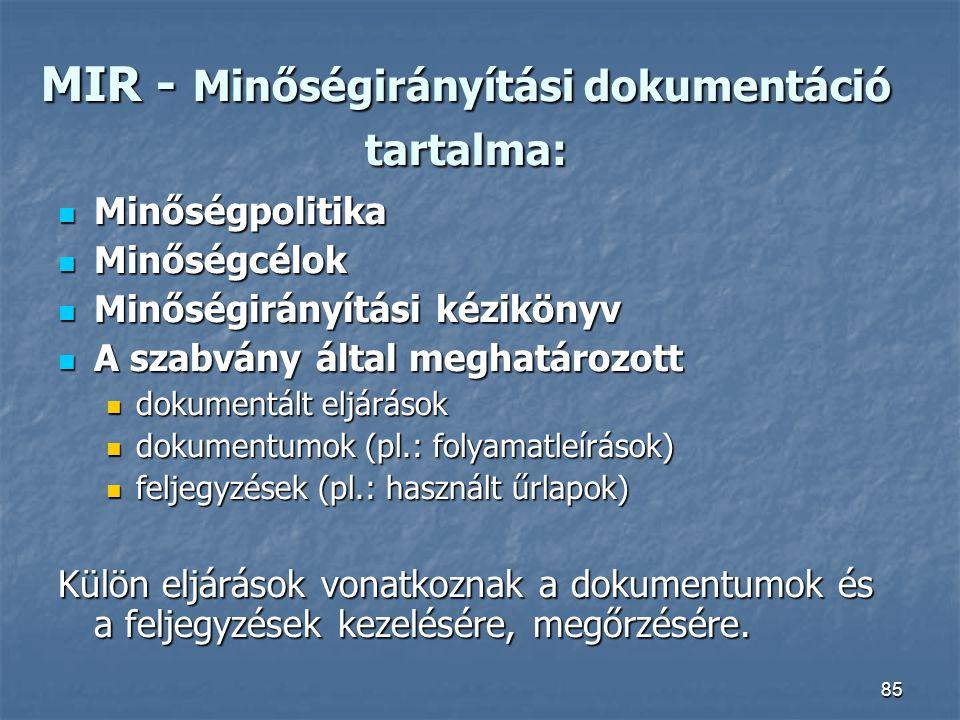 MIR - Minőségirányítási dokumentáció tartalma: