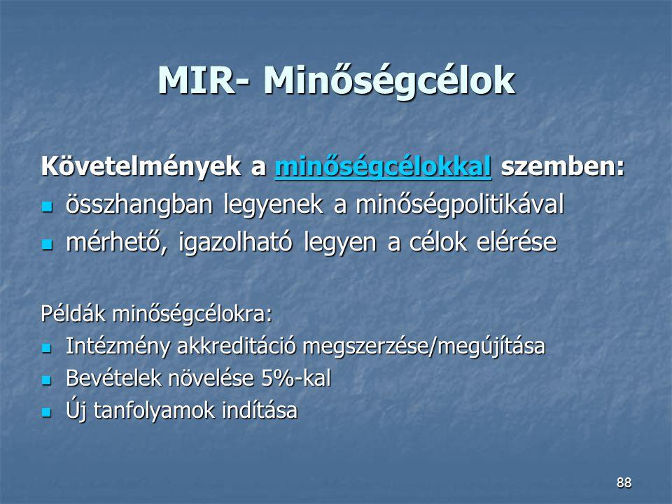 MIR- Minőségcélok Követelmények a minőségcélokkal szemben: