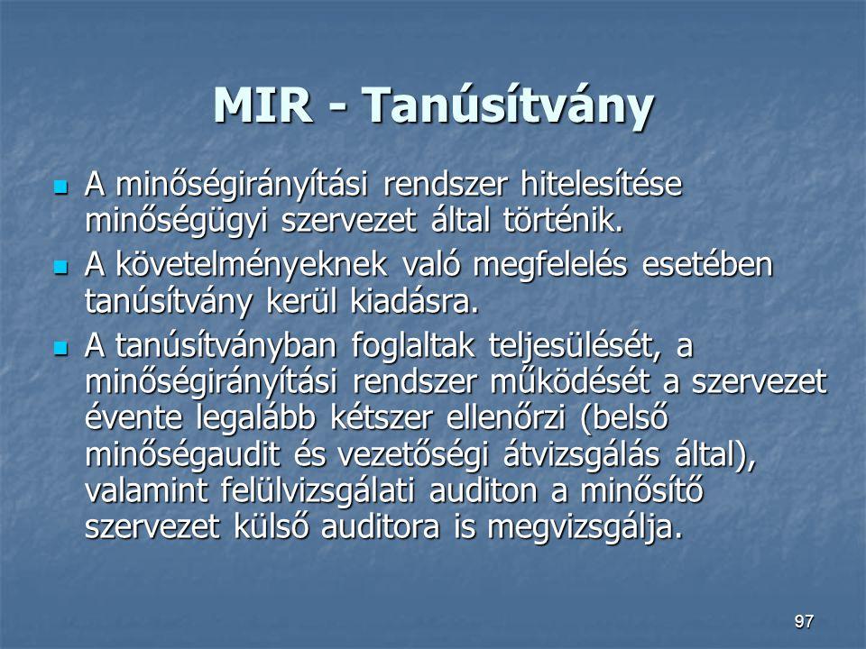 MIR - Tanúsítvány A minőségirányítási rendszer hitelesítése minőségügyi szervezet által történik.