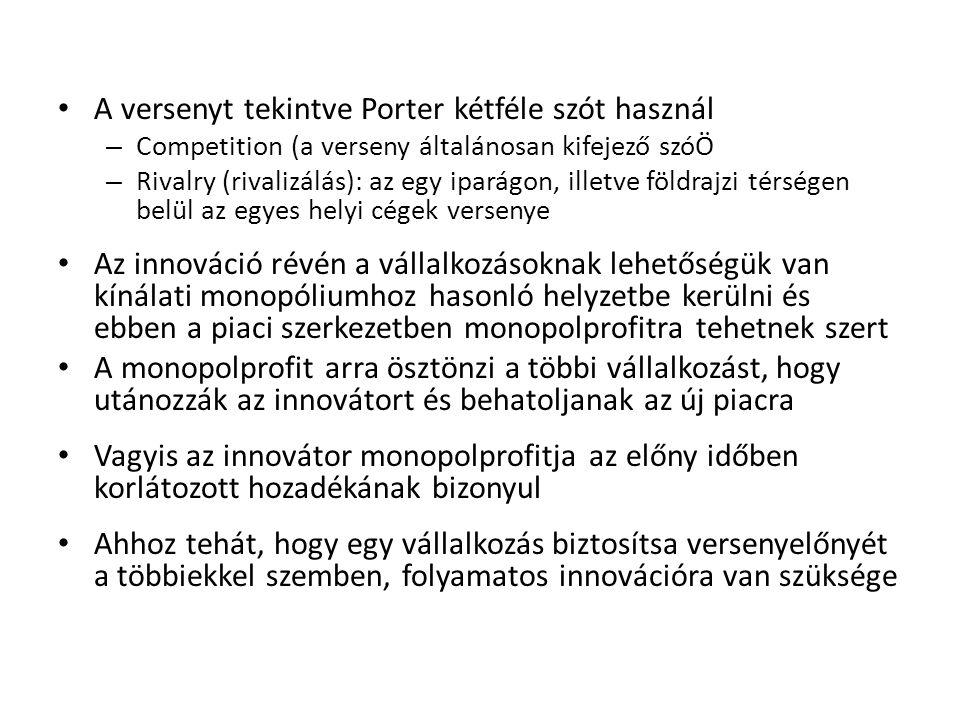 A versenyt tekintve Porter kétféle szót használ