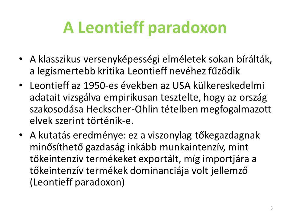 A Leontieff paradoxon A klasszikus versenyképességi elméletek sokan bírálták, a legismertebb kritika Leontieff nevéhez fűződik.