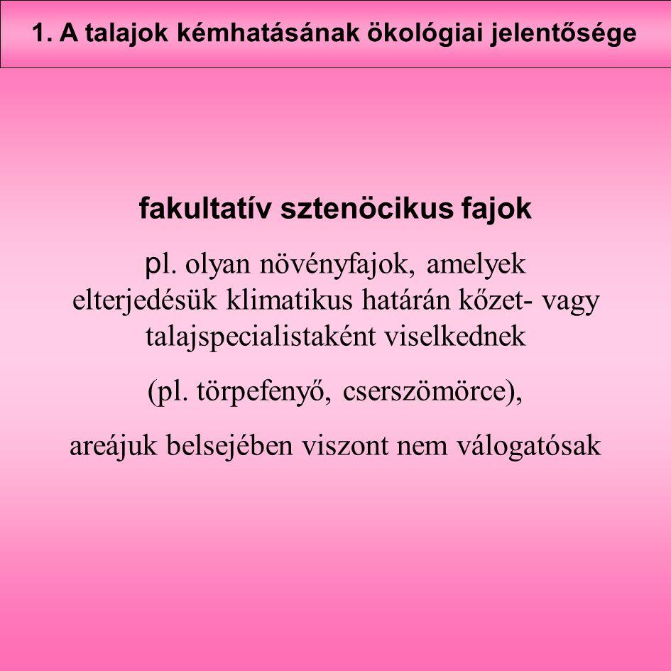 fakultatív sztenöcikus fajok