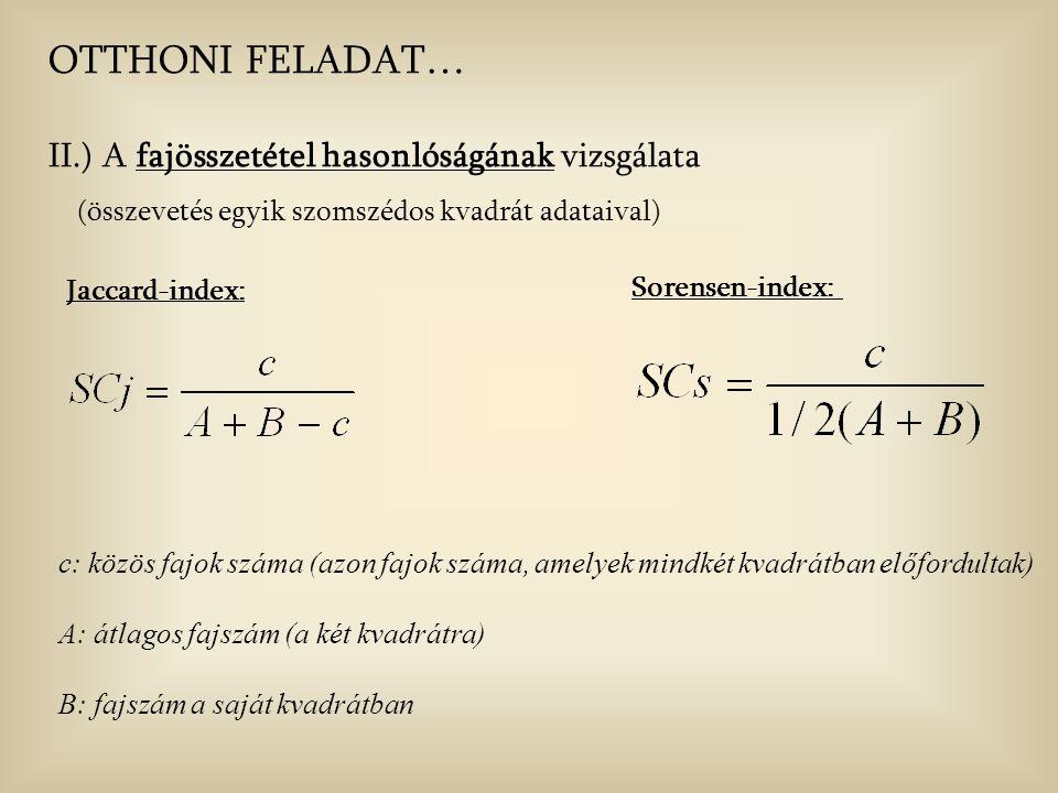 OTTHONI FELADAT… II.) A fajösszetétel hasonlóságának vizsgálata