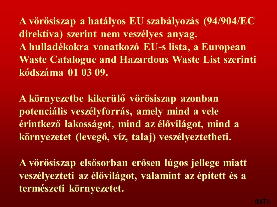 A vörösiszap a hatályos EU szabályozás (94/904/EC direktíva) szerint nem veszélyes anyag.