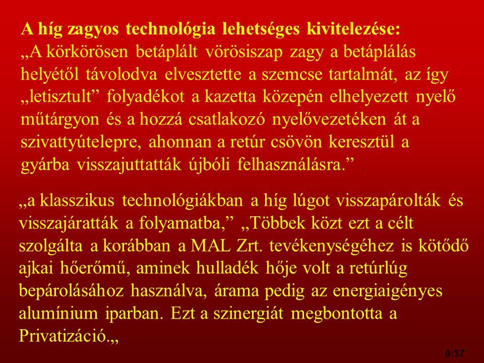 A híg zagyos technológia lehetséges kivitelezése: