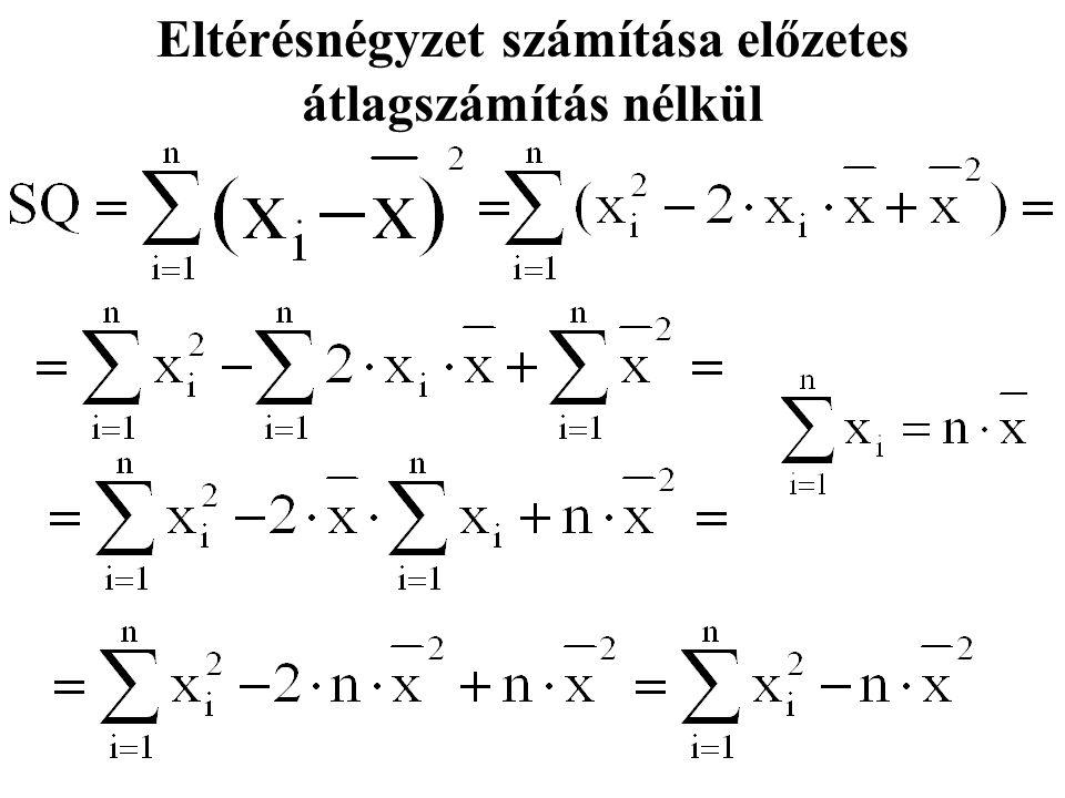 Eltérésnégyzet számítása előzetes átlagszámítás nélkül