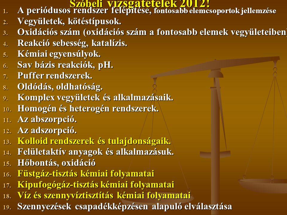 Szóbeli vizsgatételek 2012!