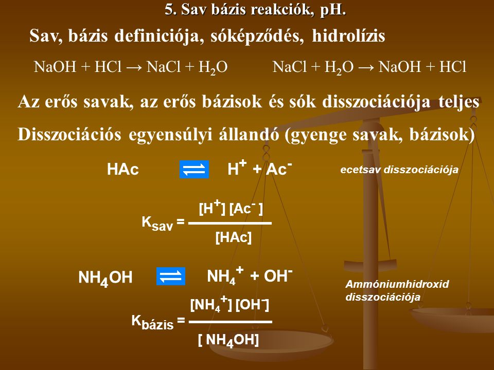 Sav, bázis definiciója, sóképződés, hidrolízis