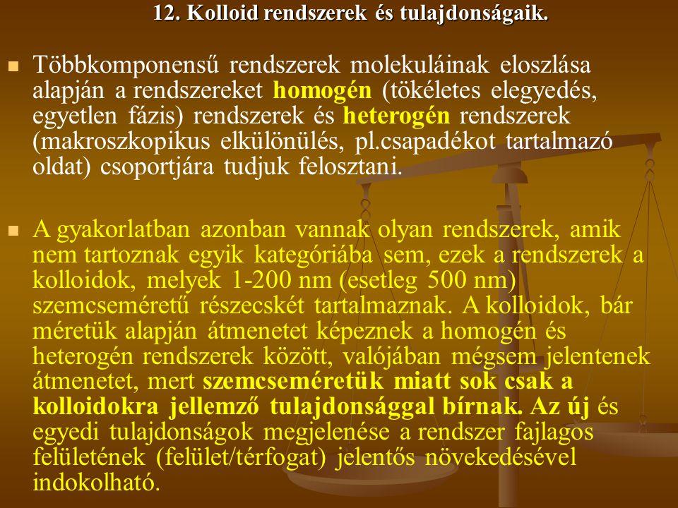 12. Kolloid rendszerek és tulajdonságaik.