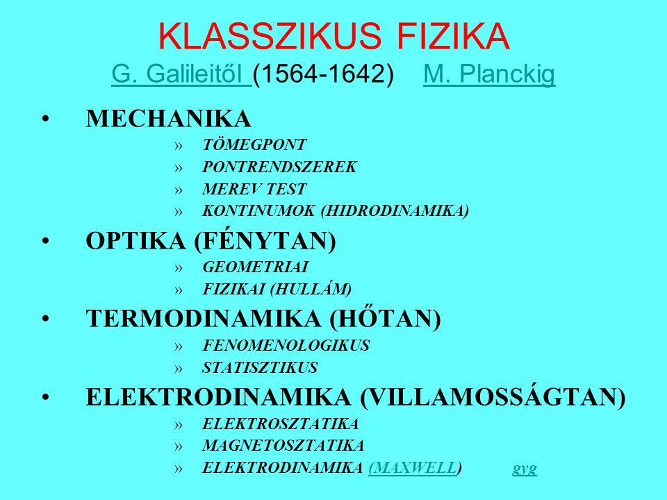 KLASSZIKUS FIZIKA G. Galileitől (1564-1642) M. Planckig