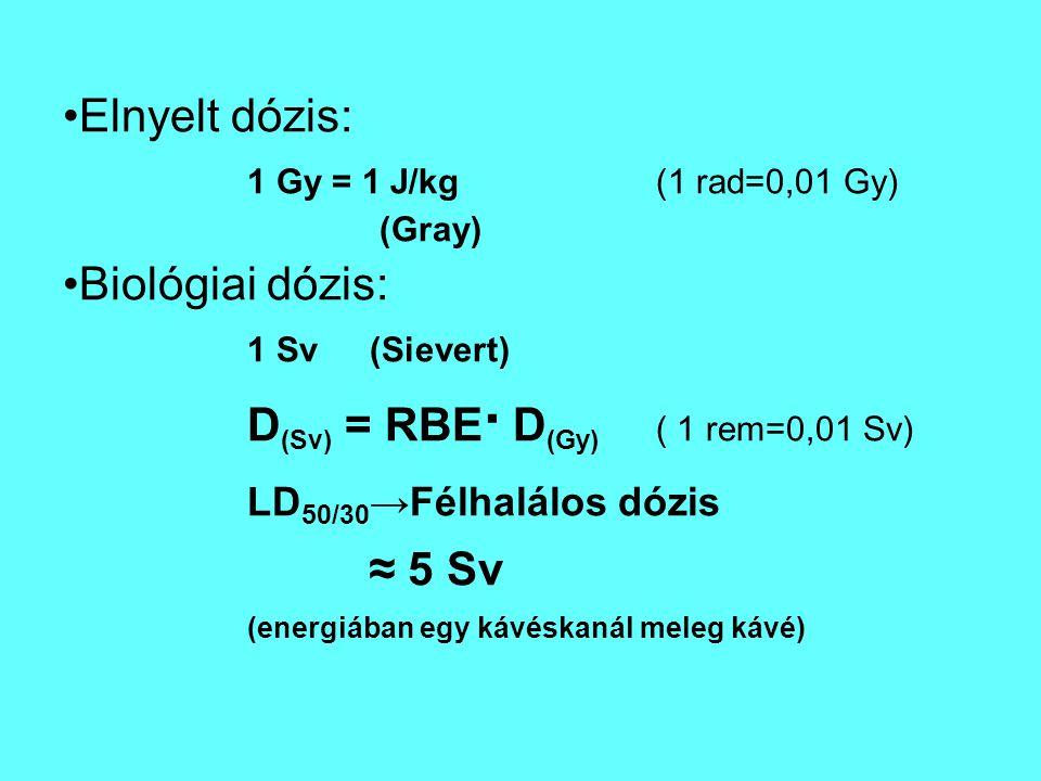 Elnyelt dózis: 1 Gy = 1 J/kg (1 rad=0,01 Gy) Biológiai dózis: