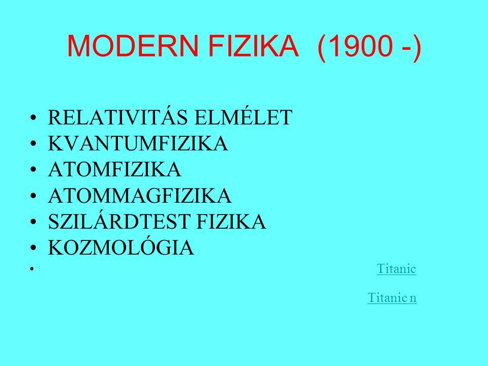 MODERN FIZIKA (1900 -) RELATIVITÁS ELMÉLET KVANTUMFIZIKA ATOMFIZIKA