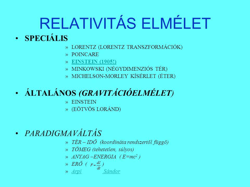 RELATIVITÁS ELMÉLET SPECIÁLIS ÁLTALÁNOS (GRAVITÁCIÓELMÉLET)