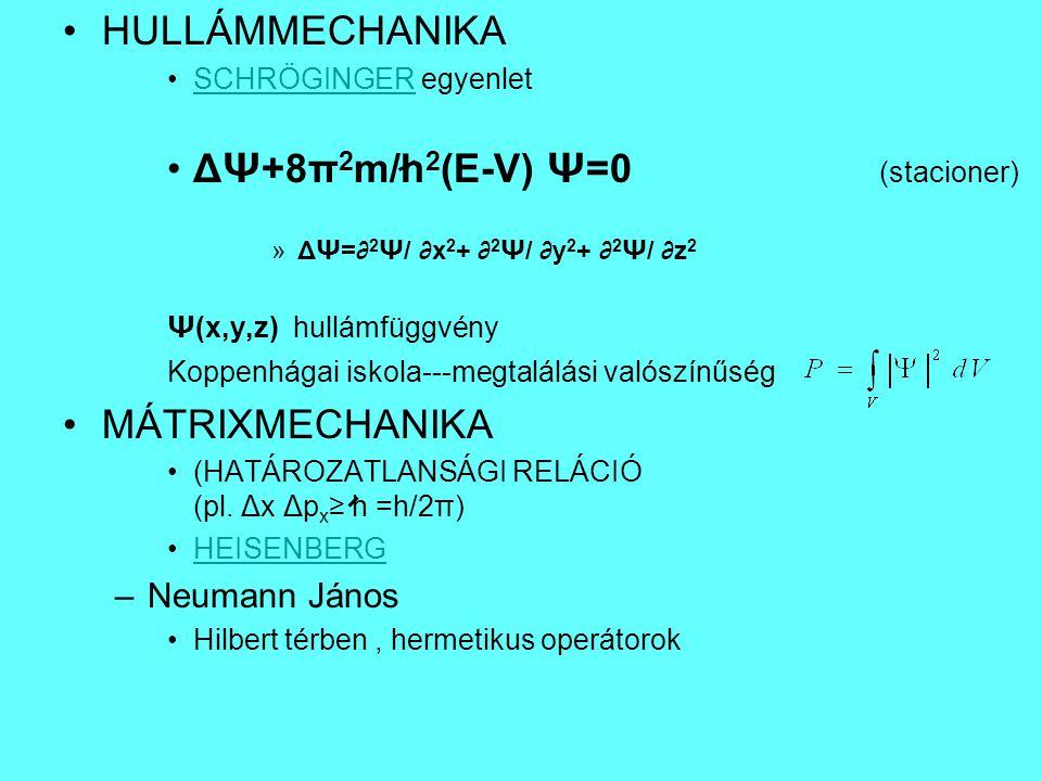 ΔΨ+8π2m/h2(E-V) Ψ=0 (stacioner)