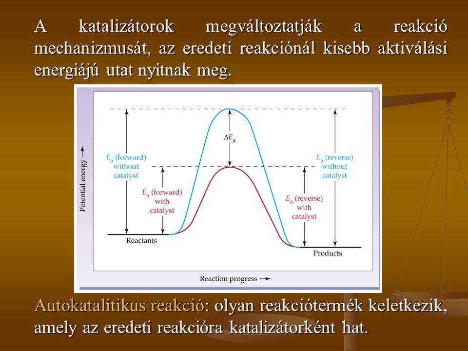 A katalizátorok megváltoztatják a reakció mechanizmusát, az eredeti reakciónál kisebb aktiválási energiájú utat nyitnak meg.