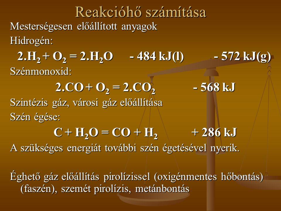 Reakcióhő számítása 2.H2 + O2 = 2.H2O - 484 kJ(l) - 572 kJ(g)