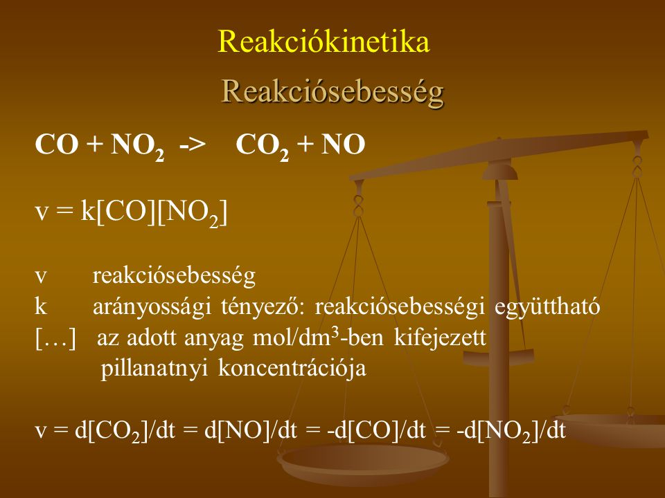 Reakciókinetika Reakciósebesség CO + NO2 -> CO2 + NO