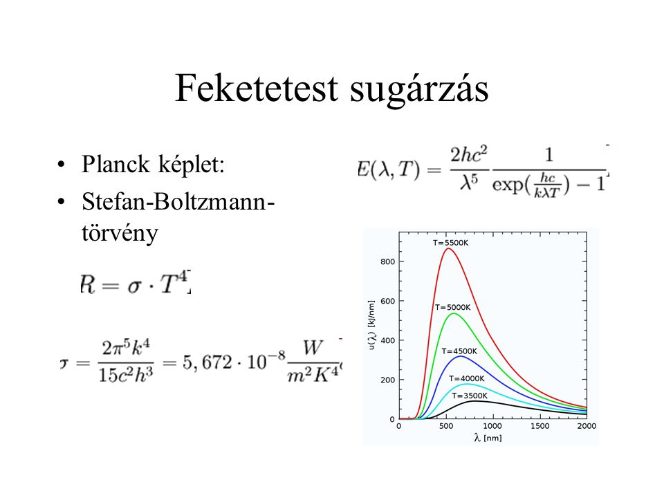 Feketetest sugárzás Planck képlet: Stefan-Boltzmann-törvény