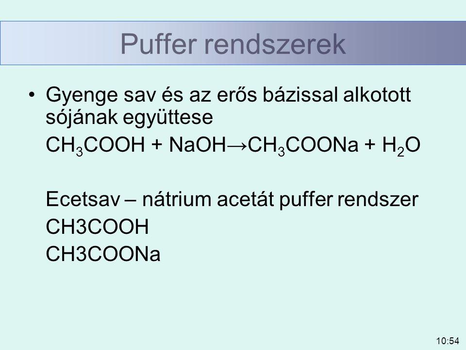 Puffer rendszerek Gyenge sav és az erős bázissal alkotott sójának együttese. CH3COOH + NaOH→CH3COONa + H2O.