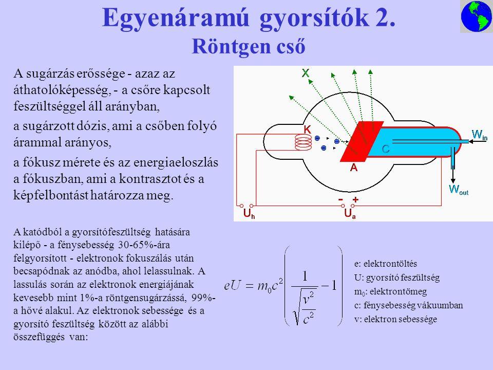 Egyenáramú gyorsítók 2. Röntgen cső