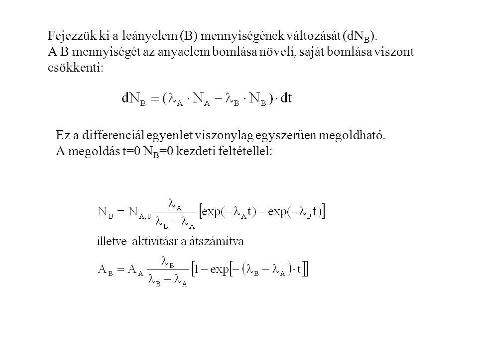 Fejezzük ki a leányelem (B) mennyiségének változását (dNB).
