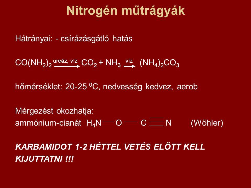 Nitrogén műtrágyák Hátrányai: - csírázásgátló hatás
