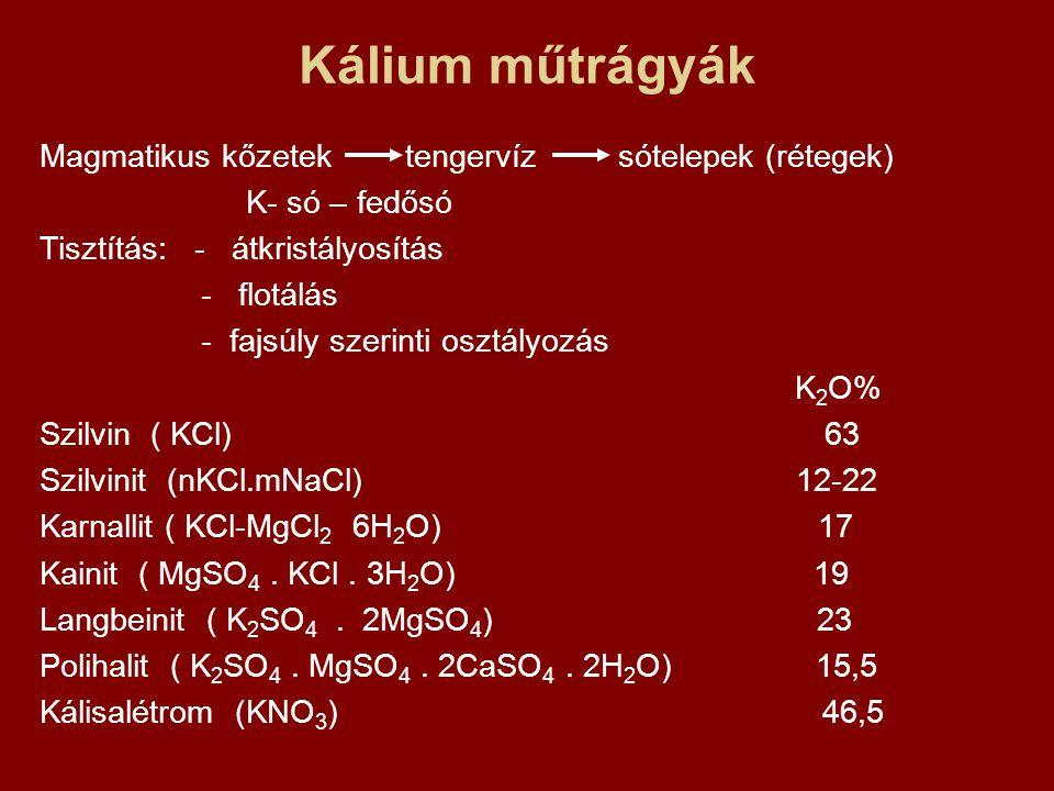 Kálium műtrágyák Magmatikus kőzetek tengervíz sótelepek (rétegek)