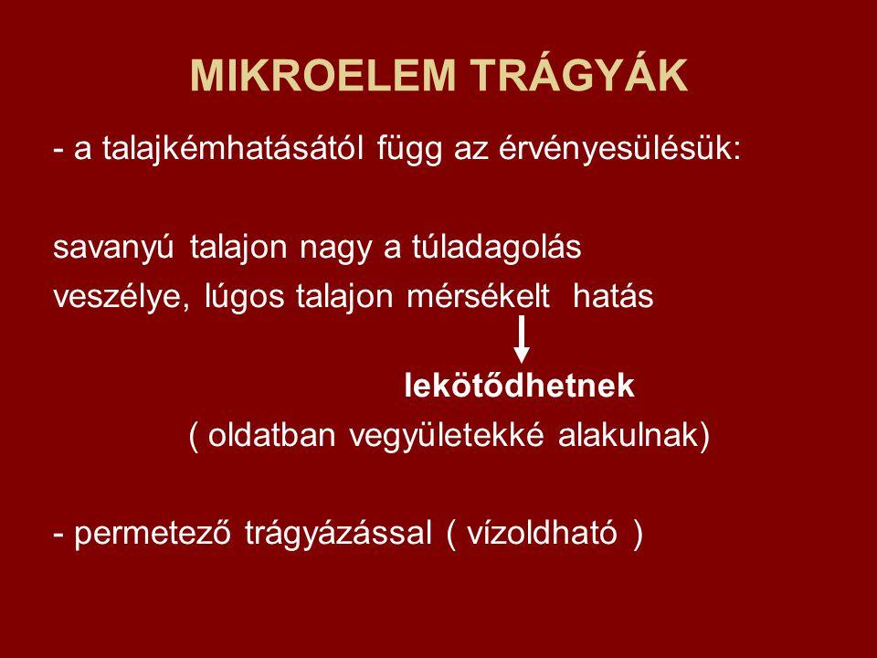 MIKROELEM TRÁGYÁK - a talajkémhatásától függ az érvényesülésük: