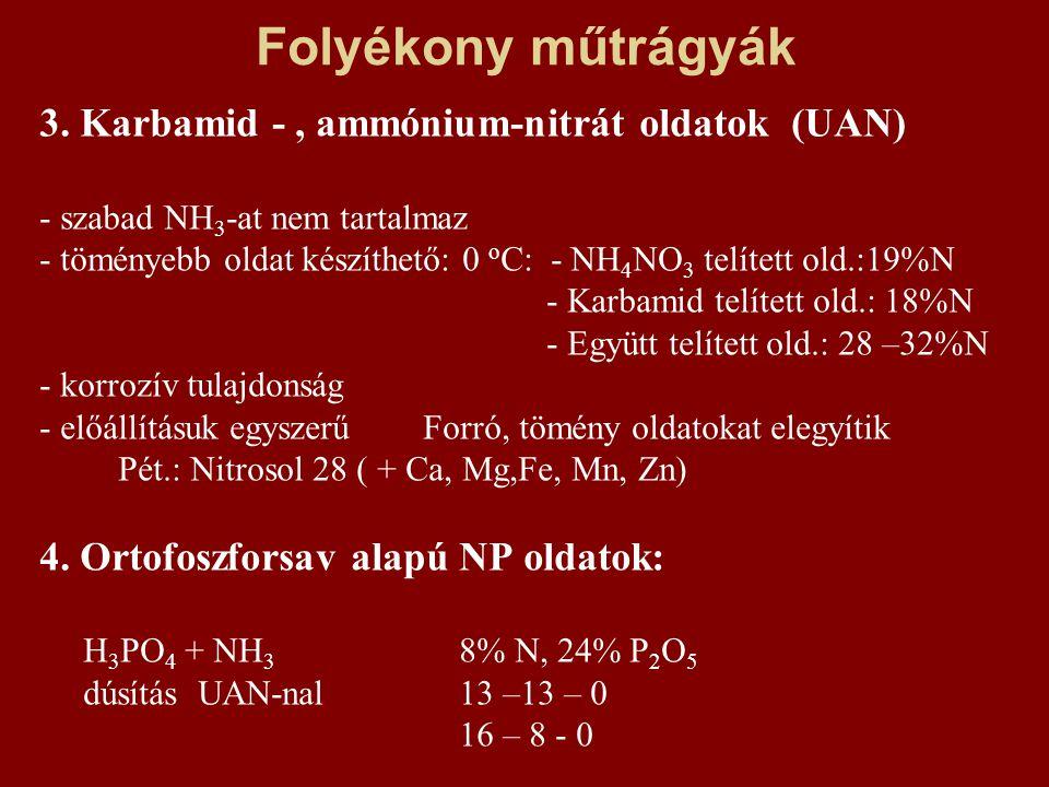 Folyékony műtrágyák 3. Karbamid - , ammónium-nitrát oldatok (UAN)