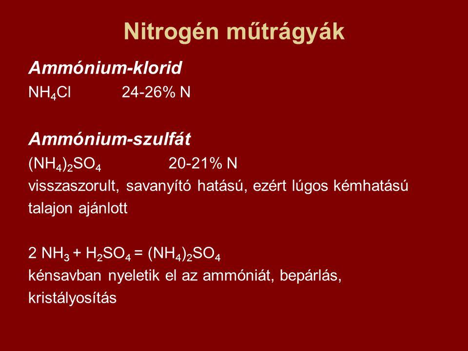 Nitrogén műtrágyák Ammónium-klorid Ammónium-szulfát NH4Cl 24-26% N