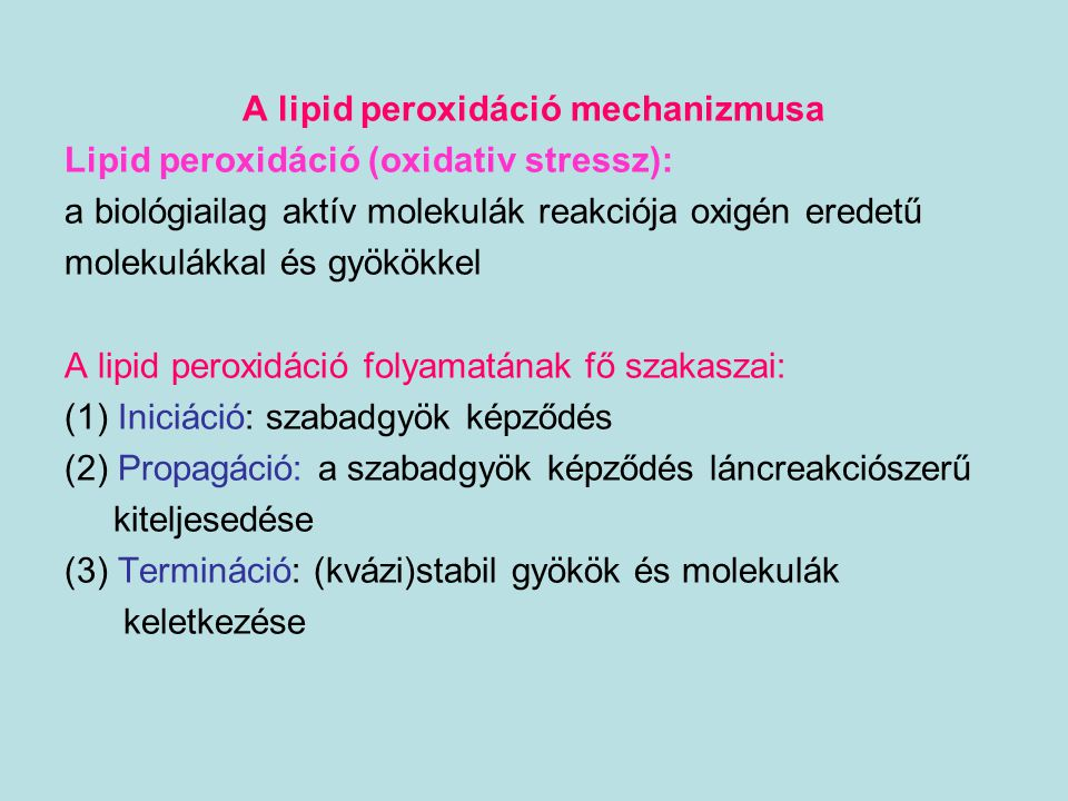 A lipid peroxidáció mechanizmusa