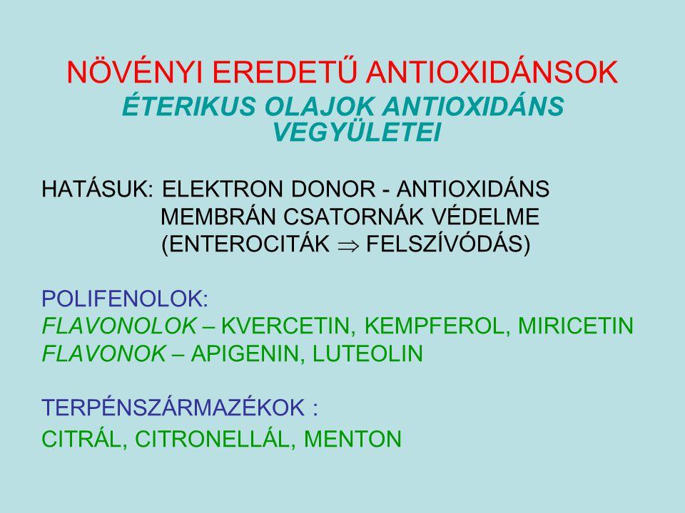 ÉTERIKUS OLAJOK ANTIOXIDÁNS VEGYÜLETEI