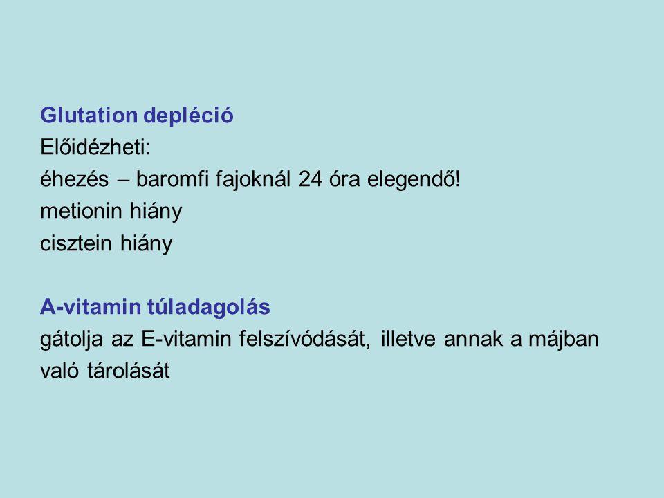Glutation depléció Előidézheti: éhezés – baromfi fajoknál 24 óra elegendő! metionin hiány. cisztein hiány.