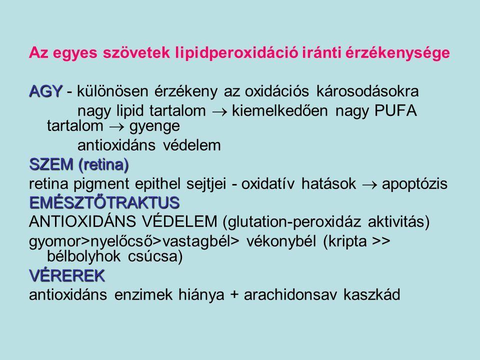 Az egyes szövetek lipidperoxidáció iránti érzékenysége
