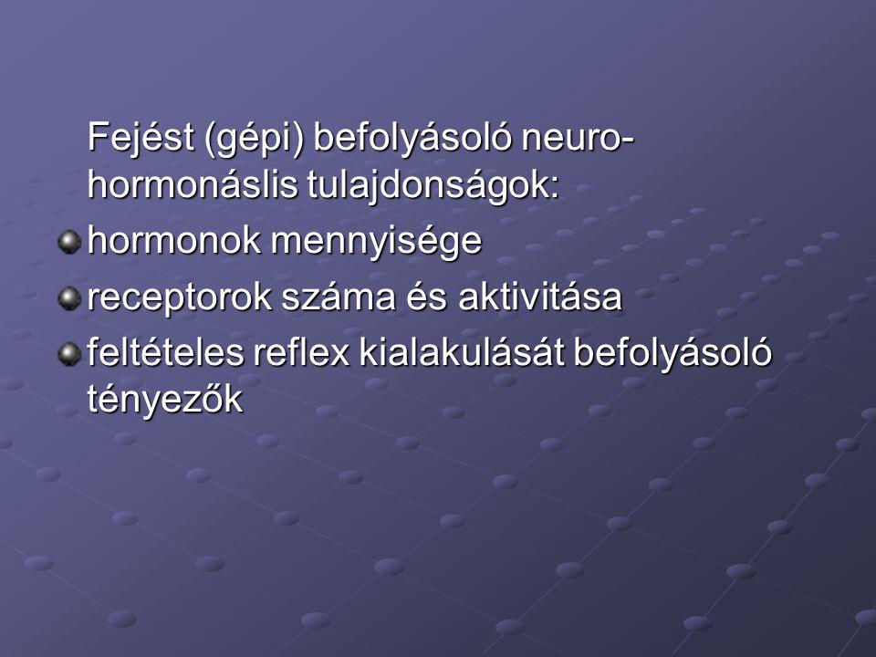 Fejést (gépi) befolyásoló neuro-hormonáslis tulajdonságok: