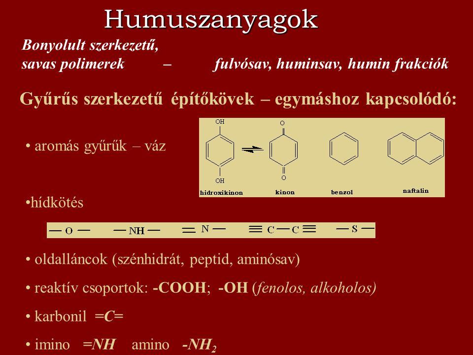Humuszanyagok Gyűrűs szerkezetű építőkövek – egymáshoz kapcsolódó: