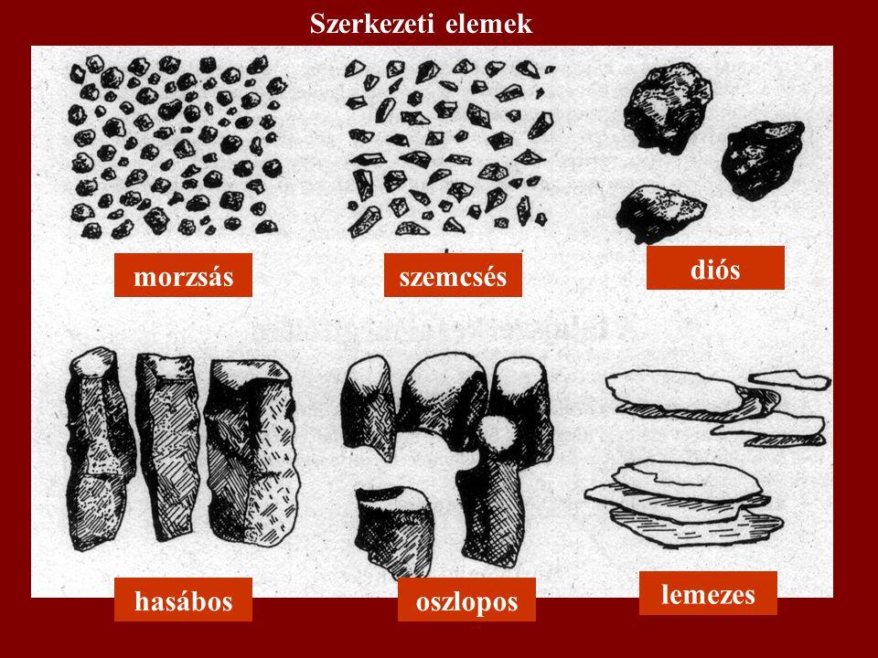 Szerkezeti elemek diós morzsás szemcsés lemezes hasábos oszlopos