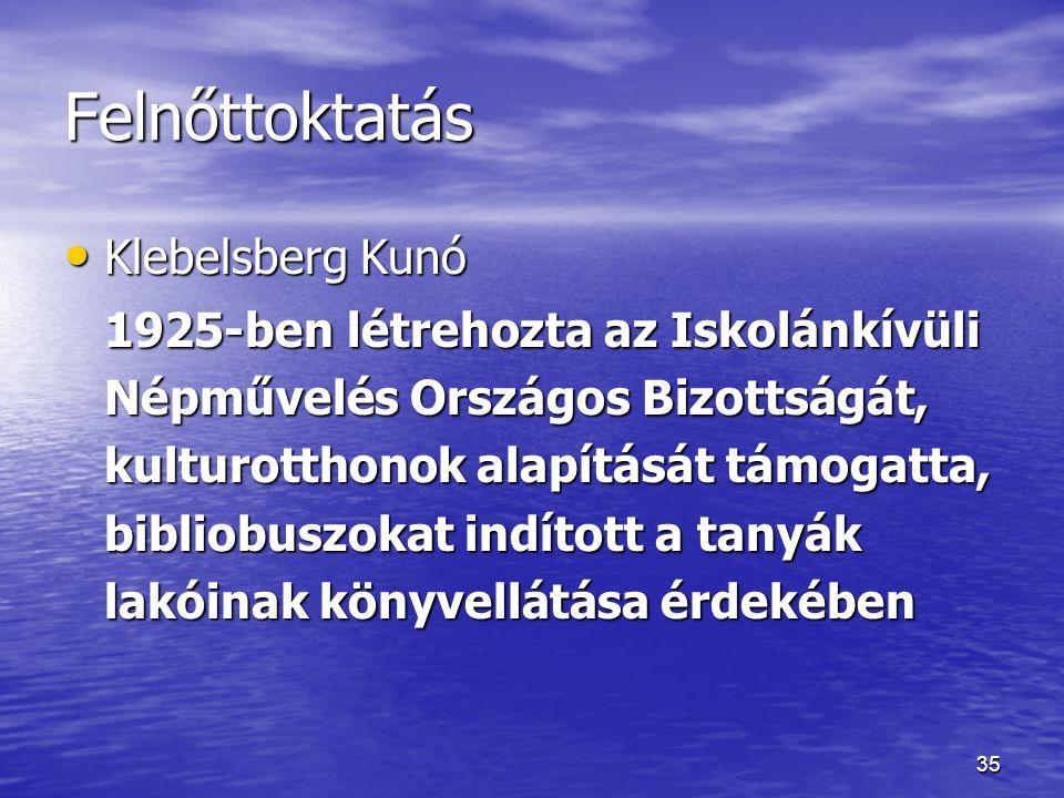 Felnőttoktatás Klebelsberg Kunó