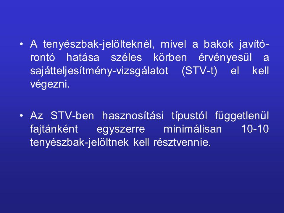 A tenyészbak-jelölteknél, mivel a bakok javító-rontó hatása széles körben érvényesül a sajátteljesítmény-vizsgálatot (STV-t) el kell végezni.