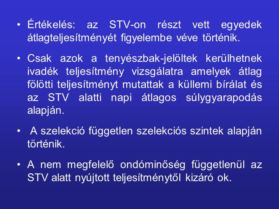 Értékelés: az STV-on részt vett egyedek átlagteljesítményét figyelembe véve történik.