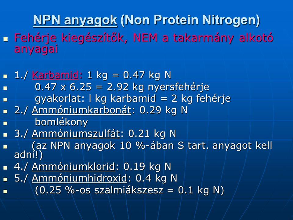 NPN anyagok (Non Protein Nitrogen)