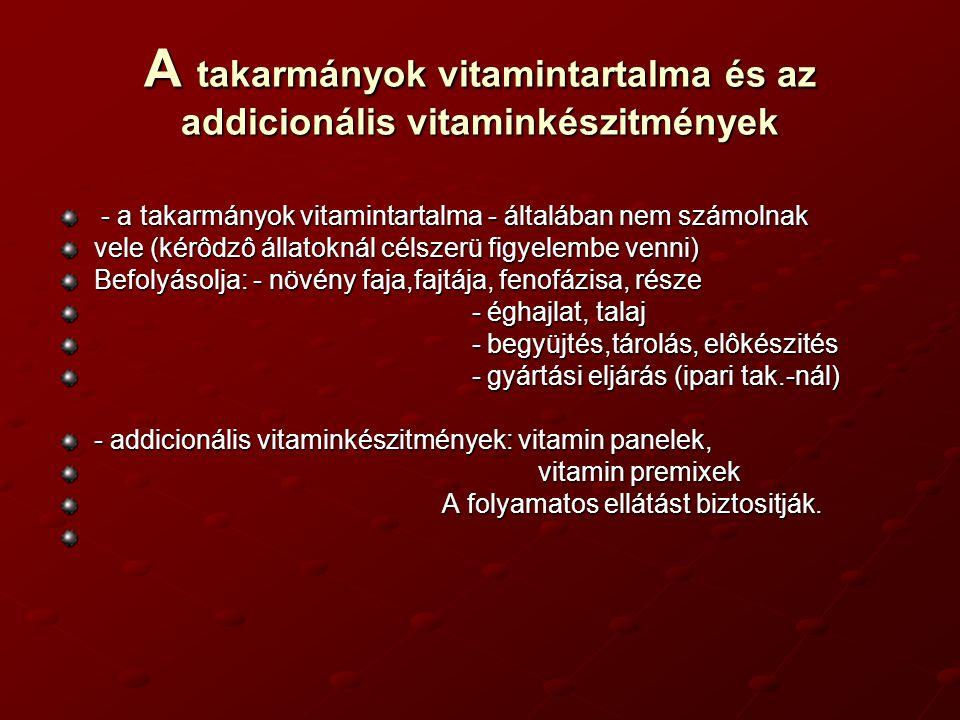 A takarmányok vitamintartalma és az addicionális vitaminkészitmények