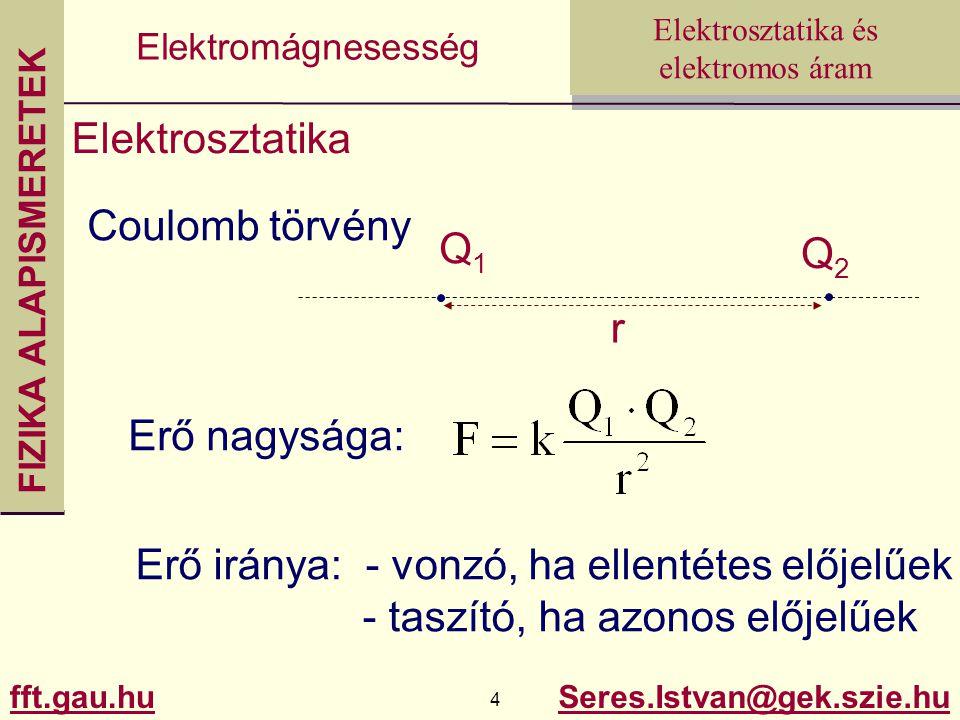Elektrosztatika Coulomb törvény. Q1. Q2. r. Erő nagysága: Erő iránya: - vonzó, ha ellentétes előjelűek.
