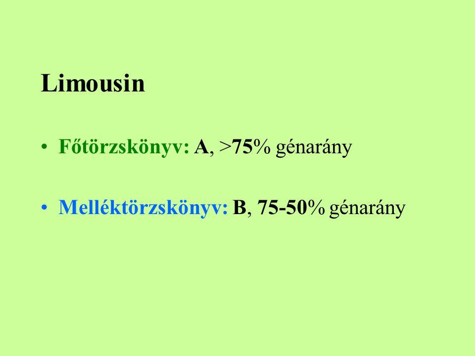 Limousin Főtörzskönyv: A, >75% génarány