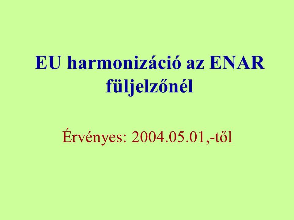EU harmonizáció az ENAR füljelzőnél