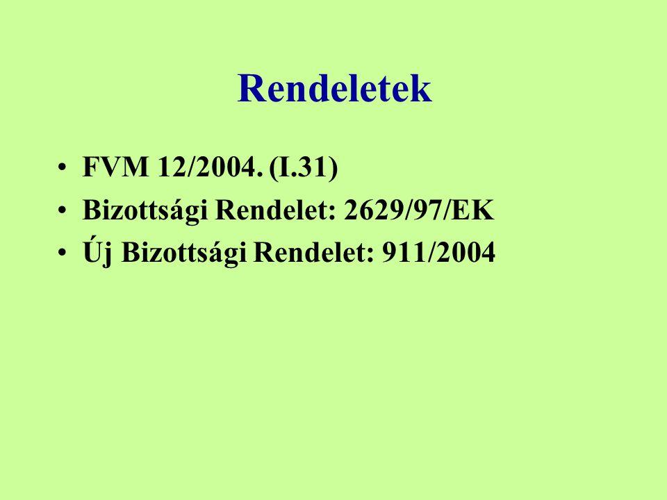 Rendeletek FVM 12/2004. (I.31) Bizottsági Rendelet: 2629/97/EK