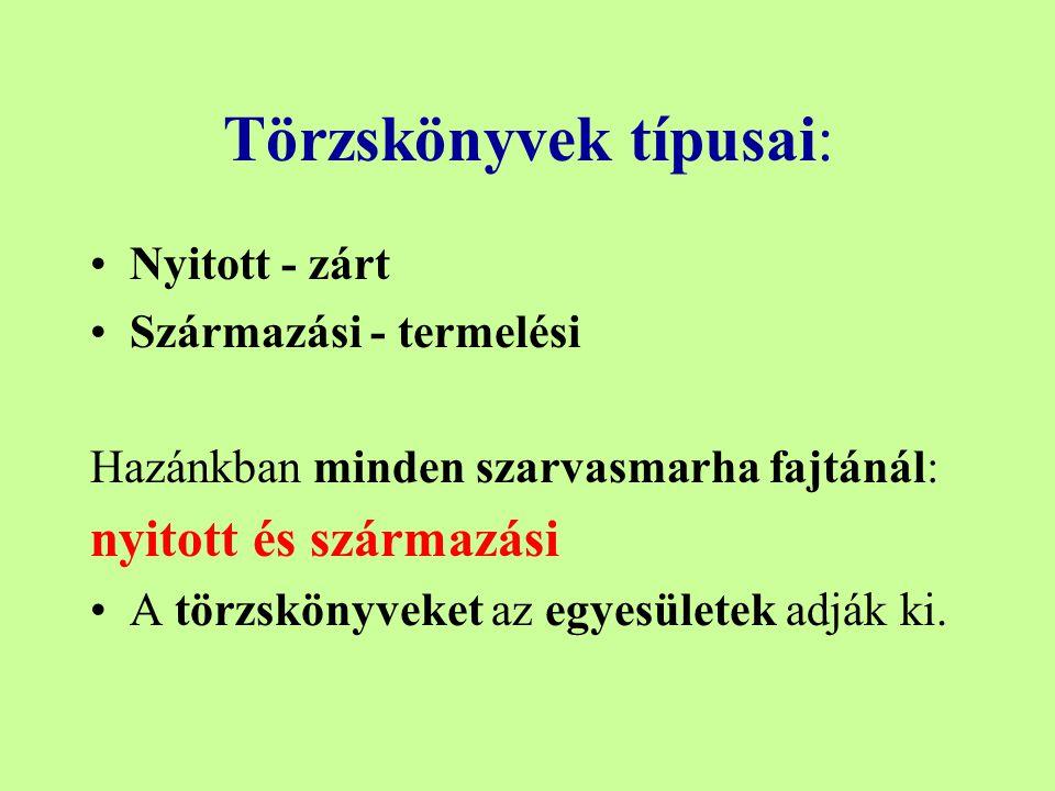 Törzskönyvek típusai: