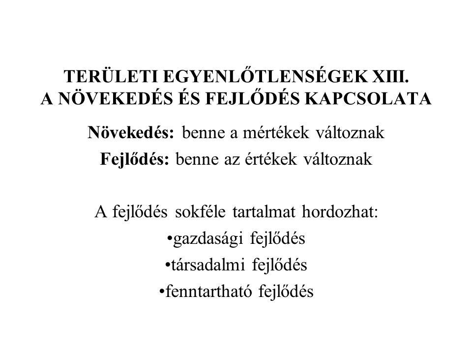 TERÜLETI EGYENLŐTLENSÉGEK XIII. A NÖVEKEDÉS ÉS FEJLŐDÉS KAPCSOLATA